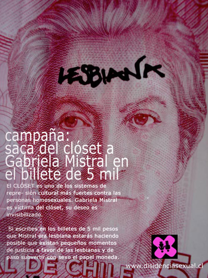 Poster from the ¨Take Gabriela Mistral out of the closet¨ campaign in 2010