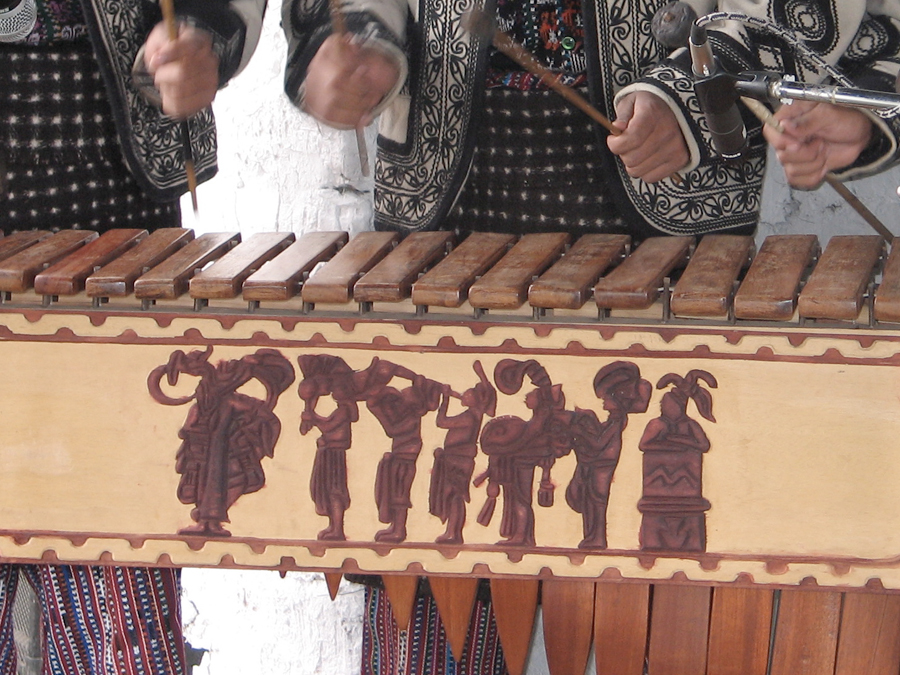 The Bonampak mural's musicians' procession, as carved on Sotz'il's marimba. 2006.  Photo: Czarina Aggabao Thelen