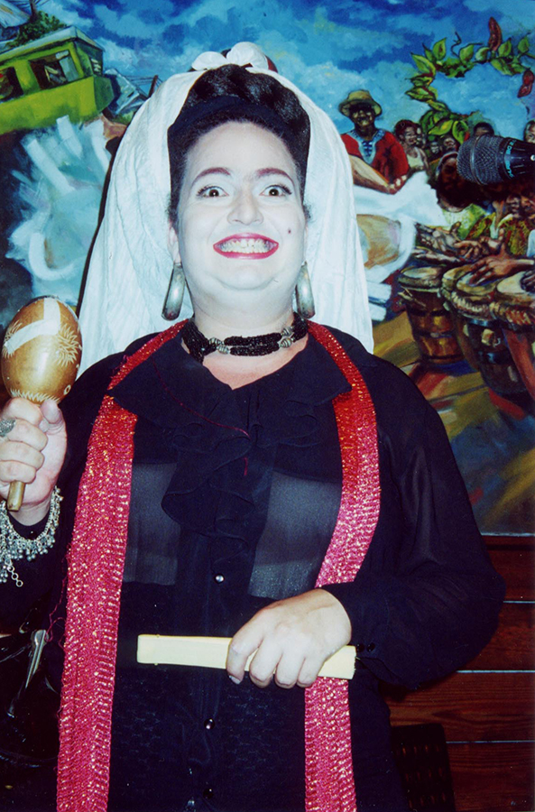 Figure 9. Freddie Mercado Velázquez performing as Myrta Silva at Cabaret Círculo, Nuyorican Café, Old San Juan, Puerto Rico, 2001. Photographer unknown. Collection of Freddie Mercado Velázquez.