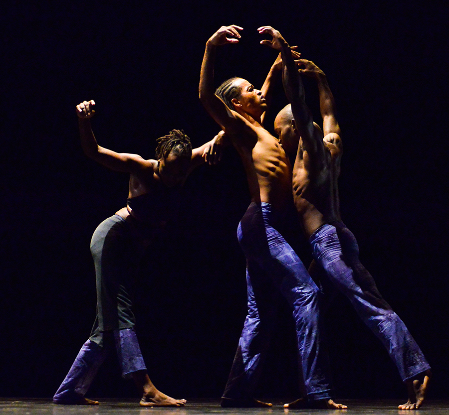 Figure 2. Left to right: Sephora Germain, Wenchel Renaudin, and Steven Vilsaint in Tribulations (2013) by Jeanguy Saintus' Ayikodans. Photo courtesy of Denis Rion.