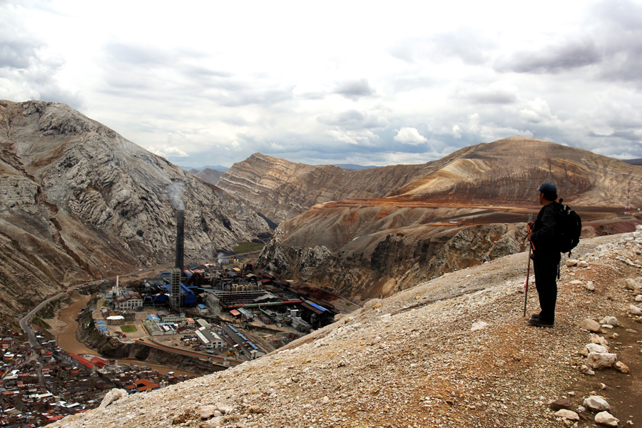 Viewing La Oroya and its metallurgic complex from above with a local environmental activist. Photo: Stefanie Graeter