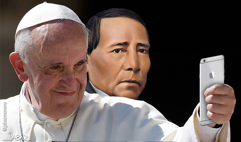 Pope Francis (left) with Benito Juárez (right), former president of Mexico, who promoted a secular state