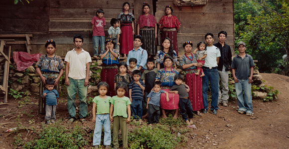 The Caba family in front of their home in the Ixil highlands of Guatemala. (Credit: Dana Lixenberg; courtesy of Skiylight Pictures)